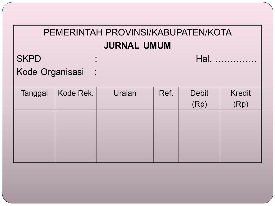 PEMERINTAH PROVINSI/KABUPATEN/KOTA JURNAL UMUM SKPD : Hal.