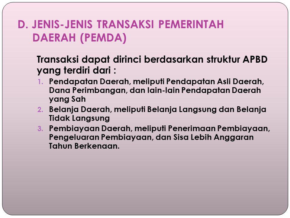 D. JENIS-JENIS TRANSAKSI PEMERINTAH DAERAH (PEMDA) Transaksi dapat dirinci berdasarkan struktur APBD yang terdiri dari : 1. Pendapatan Daerah, meliput