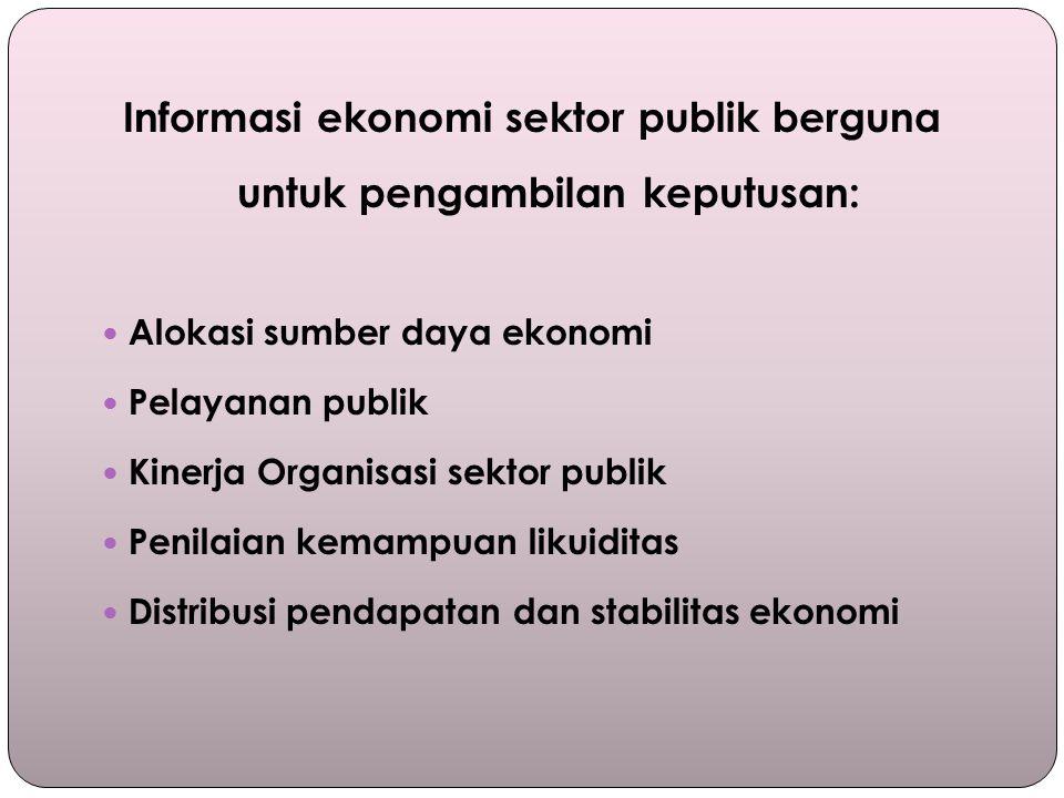Informasi ekonomi sektor publik berguna untuk pengambilan keputusan: Alokasi sumber daya ekonomi Pelayanan publik Kinerja Organisasi sektor publik Penilaian kemampuan likuiditas Distribusi pendapatan dan stabilitas ekonomi