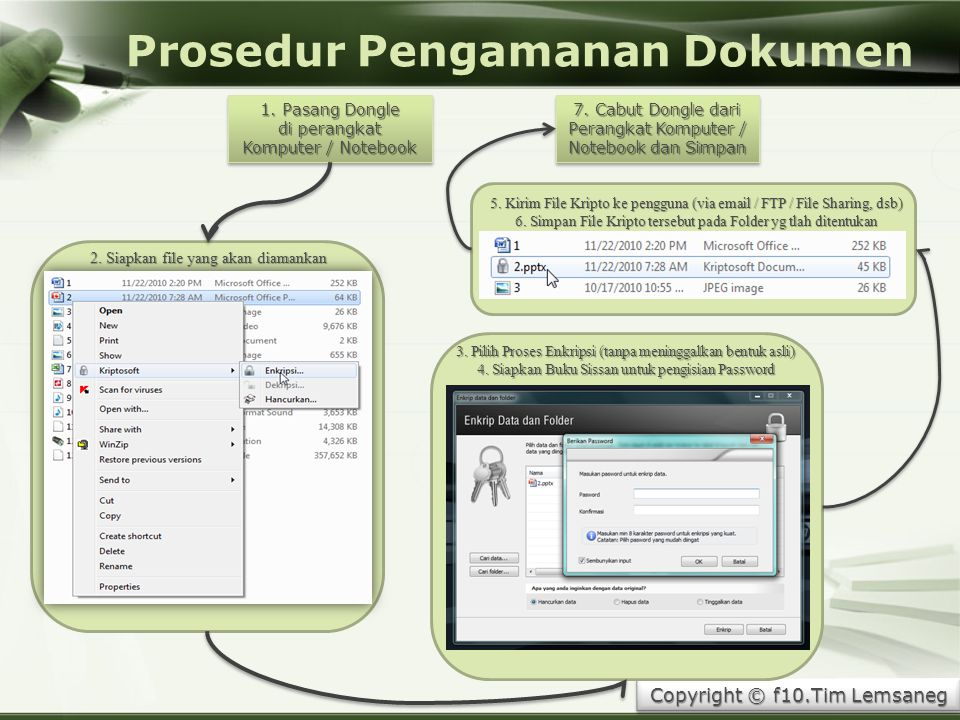 Copyright © Wondershare Software Copyright © f10.Tim Lemsaneg Prosedur Pengamanan Dokumen 1. Pasang Dongle di perangkat Komputer / Notebook 1. Pasang