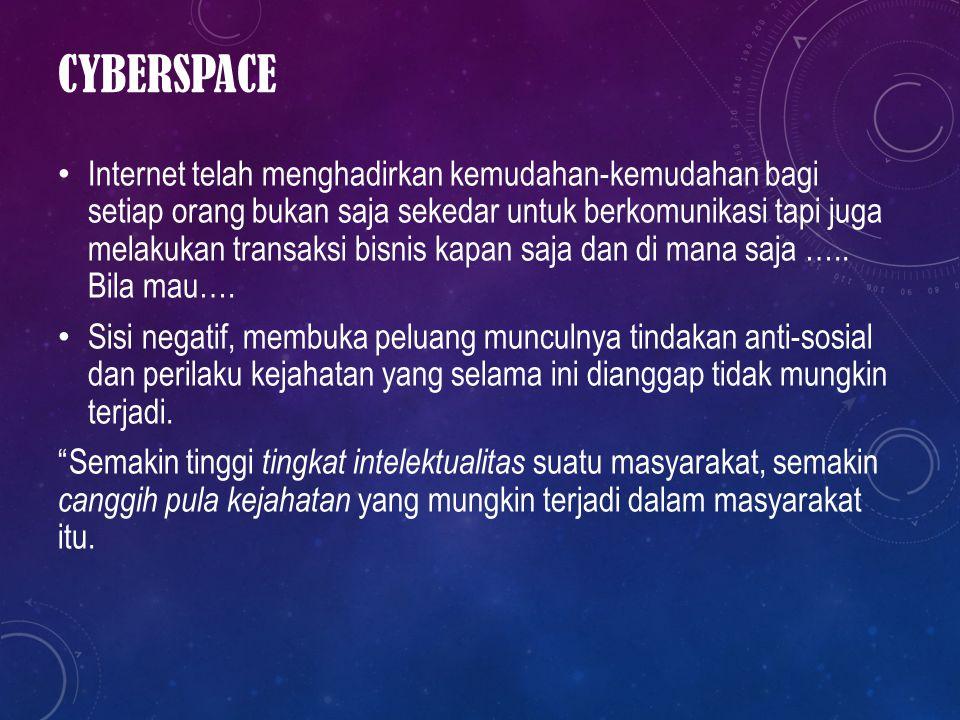 CYBERSPACE Internet telah menghadirkan kemudahan-kemudahan bagi setiap orang bukan saja sekedar untuk berkomunikasi tapi juga melakukan transaksi bisn