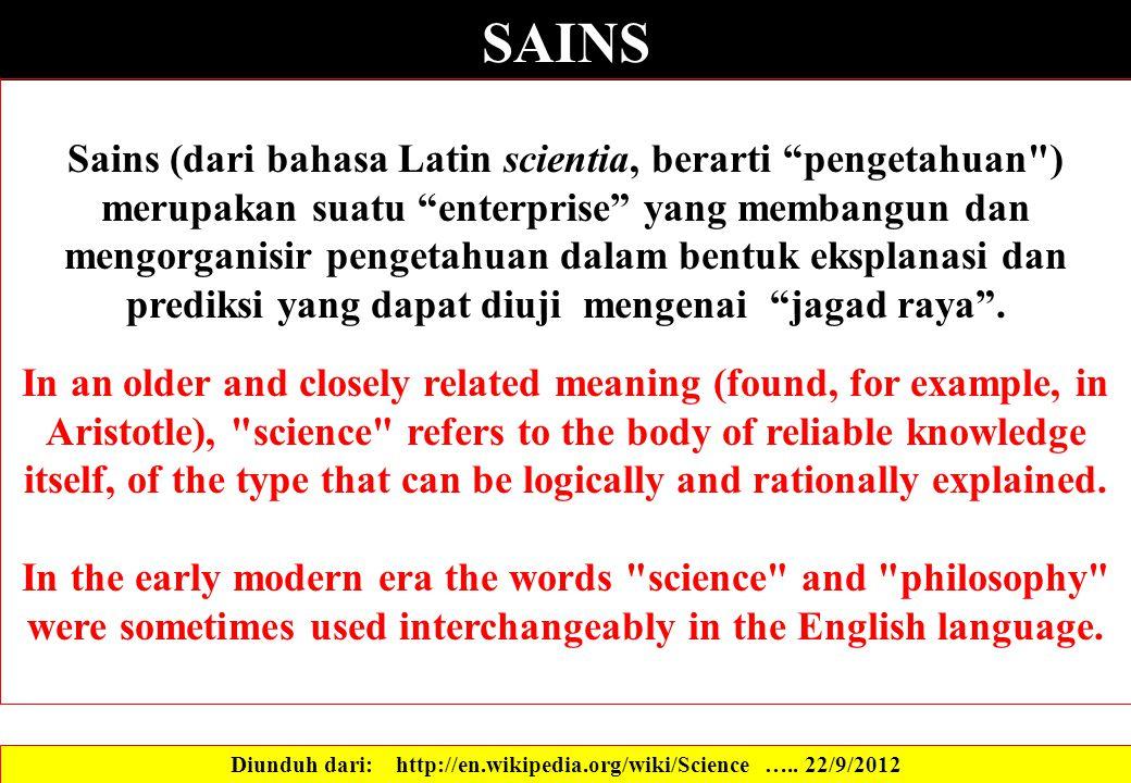 """SAINS Sains (dari bahasa Latin scientia, berarti """"pengetahuan"""