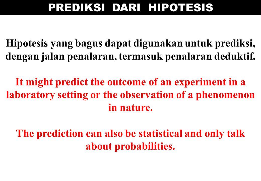 Hipotesis yang bagus dapat digunakan untuk prediksi, dengan jalan penalaran, termasuk penalaran deduktif. It might predict the outcome of an experimen