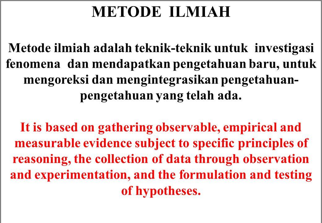 METODE ILMIAH Metode ilmiah adalah teknik-teknik untuk investigasi fenomena dan mendapatkan pengetahuan baru, untuk mengoreksi dan mengintegrasikan pe