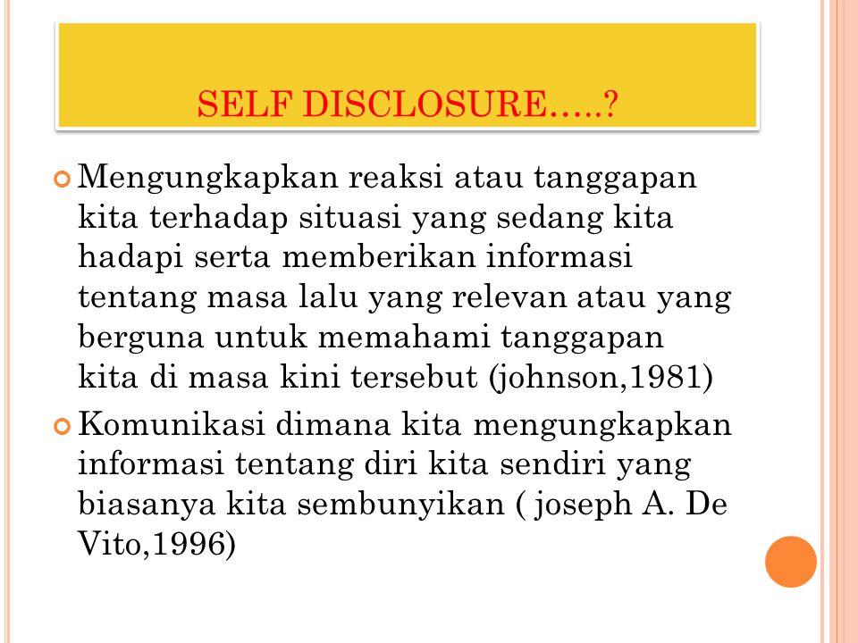 SELF DISCLOSURE…..? Mengungkapkan reaksi atau tanggapan kita terhadap situasi yang sedang kita hadapi serta memberikan informasi tentang masa lalu yan