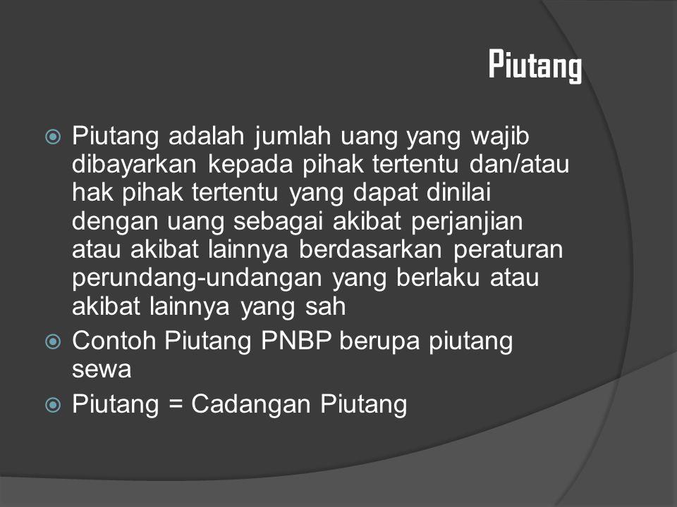 Piutang  Piutang adalah jumlah uang yang wajib dibayarkan kepada pihak tertentu dan/atau hak pihak tertentu yang dapat dinilai dengan uang sebagai akibat perjanjian atau akibat lainnya berdasarkan peraturan perundang-undangan yang berlaku atau akibat lainnya yang sah  Contoh Piutang PNBP berupa piutang sewa  Piutang = Cadangan Piutang