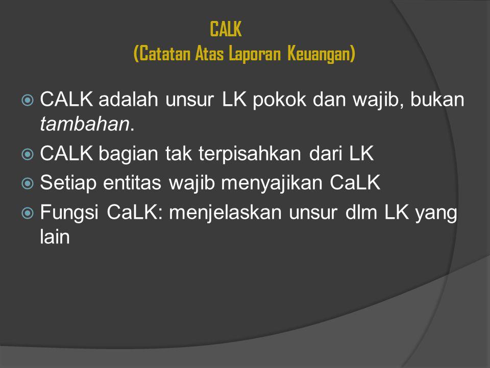 CALK (Catatan Atas Laporan Keuangan)  CALK adalah unsur LK pokok dan wajib, bukan tambahan.