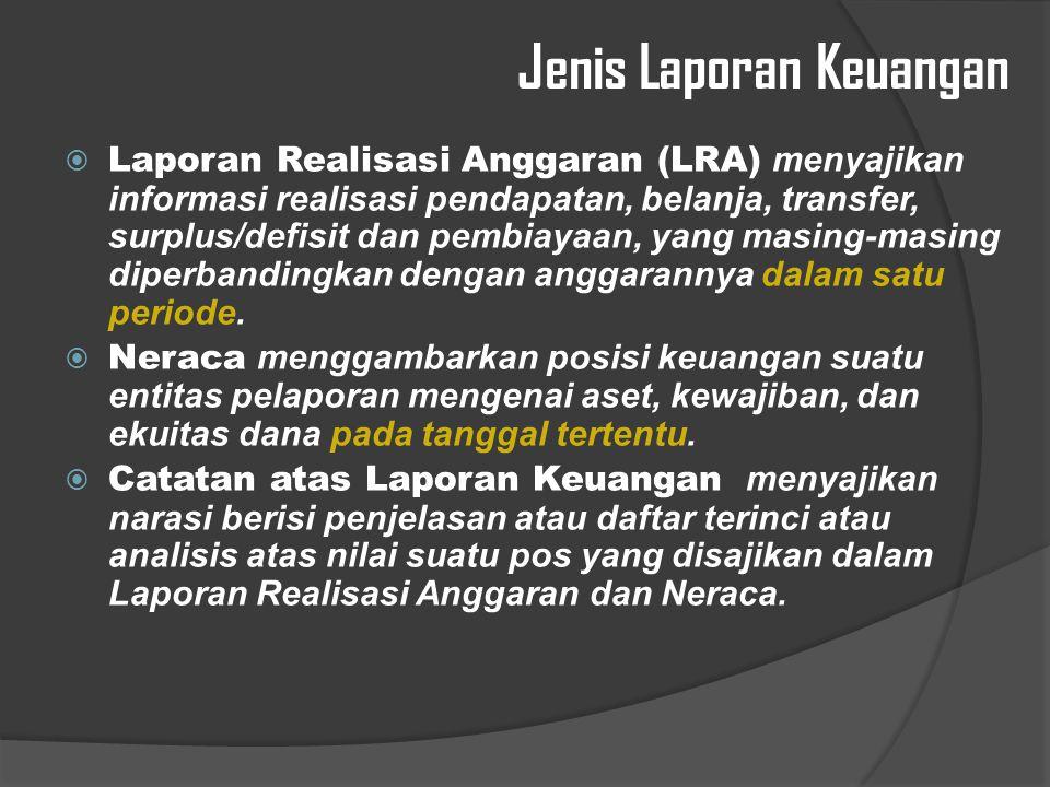 Jenis Laporan Keuangan  Laporan Realisasi Anggaran (LRA) menyajikan informasi realisasi pendapatan, belanja, transfer, surplus/defisit dan pembiayaan, yang masing-masing diperbandingkan dengan anggarannya dalam satu periode.