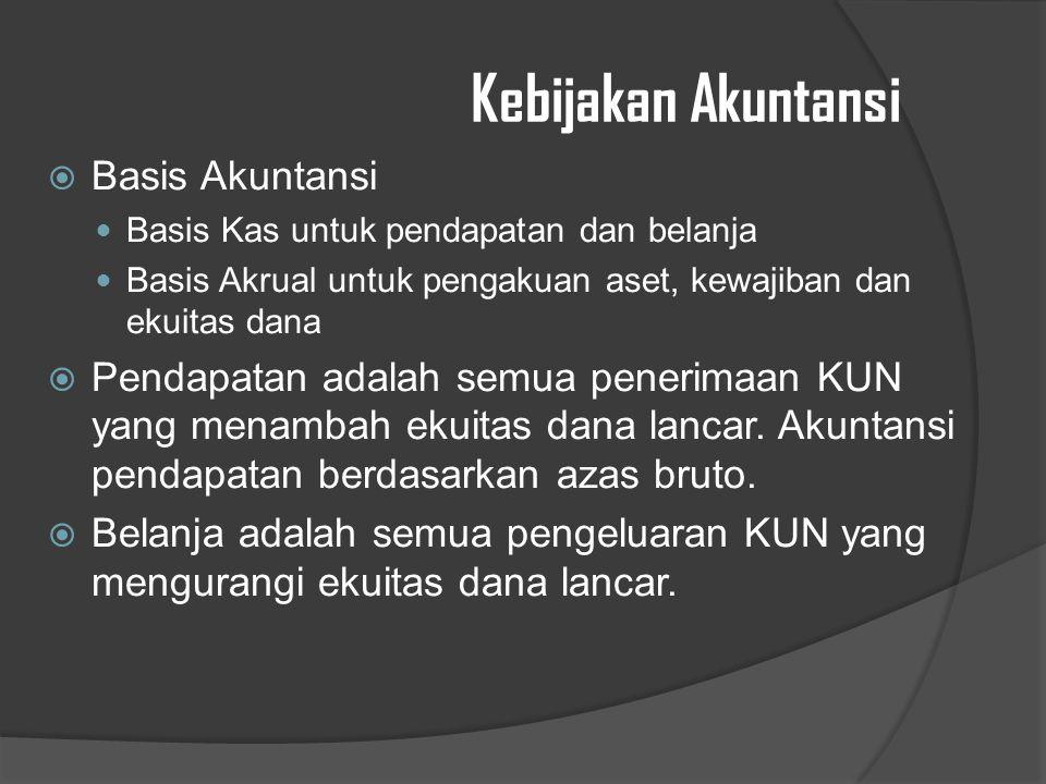 Kebijakan Akuntansi  Basis Akuntansi Basis Kas untuk pendapatan dan belanja Basis Akrual untuk pengakuan aset, kewajiban dan ekuitas dana  Pendapatan adalah semua penerimaan KUN yang menambah ekuitas dana lancar.