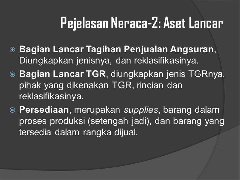 Pejelasan Neraca-2: Aset Lancar  Bagian Lancar Tagihan Penjualan Angsuran, Diungkapkan jenisnya, dan reklasifikasinya.