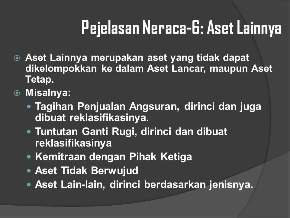 Pejelasan Neraca-6: Aset Lainnya  Aset Lainnya merupakan aset yang tidak dapat dikelompokkan ke dalam Aset Lancar, maupun Aset Tetap.