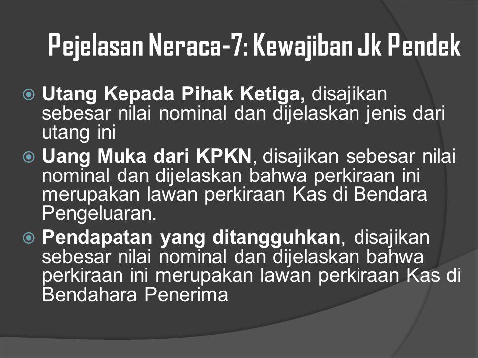 Pejelasan Neraca-7: Kewajiban Jk Pendek  Utang Kepada Pihak Ketiga, disajikan sebesar nilai nominal dan dijelaskan jenis dari utang ini  Uang Muka dari KPKN, disajikan sebesar nilai nominal dan dijelaskan bahwa perkiraan ini merupakan lawan perkiraan Kas di Bendara Pengeluaran.