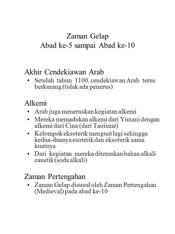 Zaman Gelap Abad ke-5 sampai Abad ke-10 Akhir Cendekiawan Arab Setelah tahun 1100, cendekiawan Arab terus berkurang (tidak ada penerus) Alkemi Arab ju