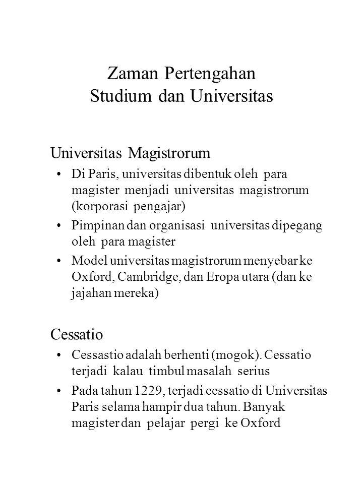 Zaman Pertengahan Studium dan Universitas Universitas Magistrorum Di Paris, universitas dibentuk oleh para magister menjadi universitas magistrorum (k