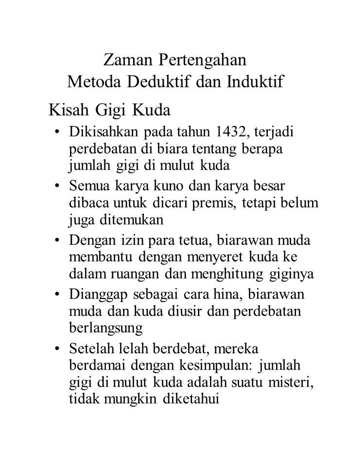 Zaman Pertengahan Metoda Deduktif dan Induktif Kisah Gigi Kuda Dikisahkan pada tahun 1432, terjadi perdebatan di biara tentang berapa jumlah gigi di m