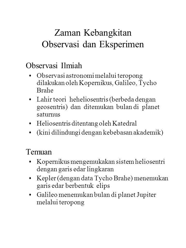 Zaman Kebangkitan Observasi dan Eksperimen Observasi Ilmiah Observasi astronomi melalui teropong dilakukan oleh Kopernikus, Galileo, Tycho Brahe Lahir