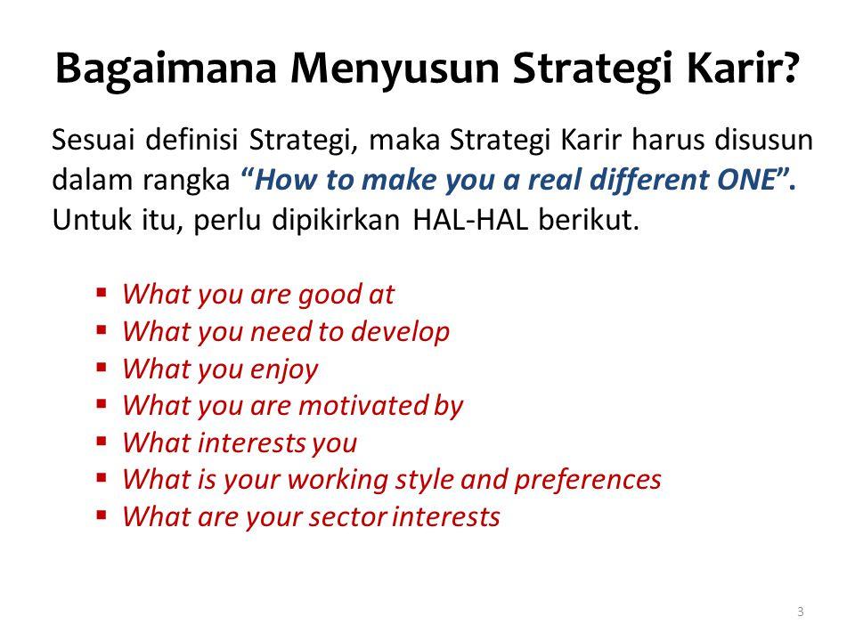 """Bagaimana Menyusun Strategi Karir? Sesuai definisi Strategi, maka Strategi Karir harus disusun dalam rangka """"How to make you a real different ONE"""". Un"""