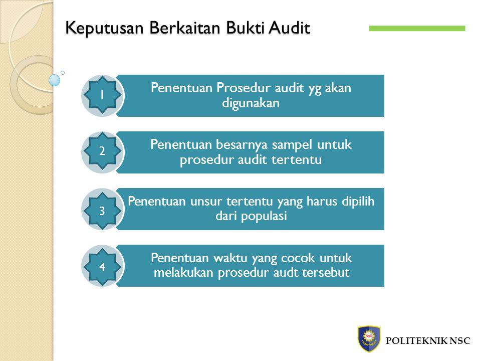 Keputusan Berkaitan Bukti Audit POLITEKNIK NSC Penentuan Prosedur audit yg akan digunakan Penentuan besarnya sampel untuk prosedur audit tertentu Penentuan unsur tertentu yang harus dipilih dari populasi Penentuan waktu yang cocok untuk melakukan prosedur audt tersebut 1 4 3 2
