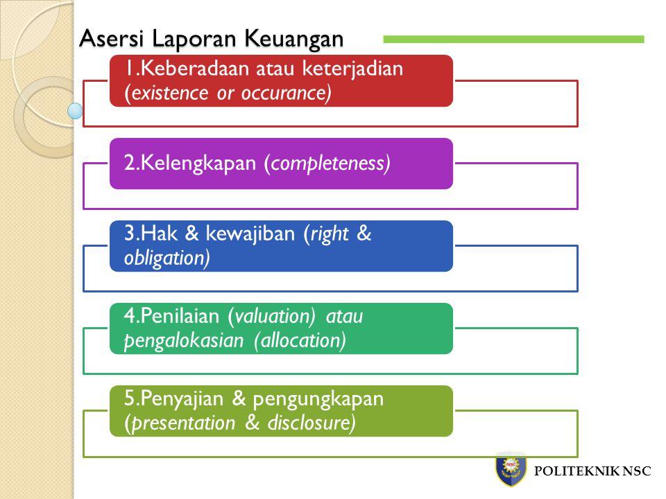 Asersi Laporan Keuangan POLITEKNIK NSC 1.Keberadaan atau keterjadian (existence or occurance) 2.Kelengkapan (completeness) 3.Hak & kewajiban (right & obligation) 4.Penilaian (valuation) atau pengalokasian (allocation) 5.Penyajian & pengungkapan (presentation & disclosure)