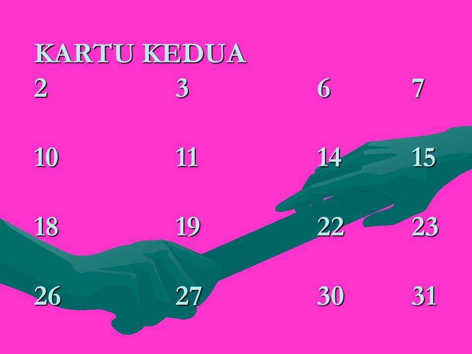 KARTU KEDUA 2367 10111415 18192223 26273031