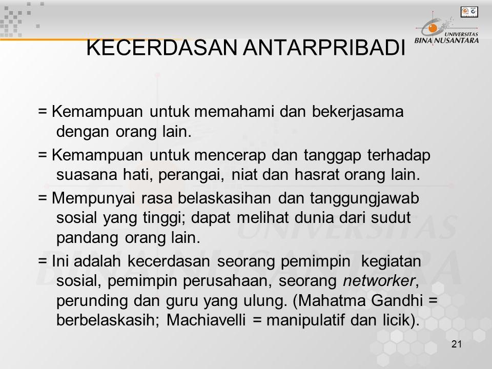 21 KECERDASAN ANTARPRIBADI = Kemampuan untuk memahami dan bekerjasama dengan orang lain. = Kemampuan untuk mencerap dan tanggap terhadap suasana hati,