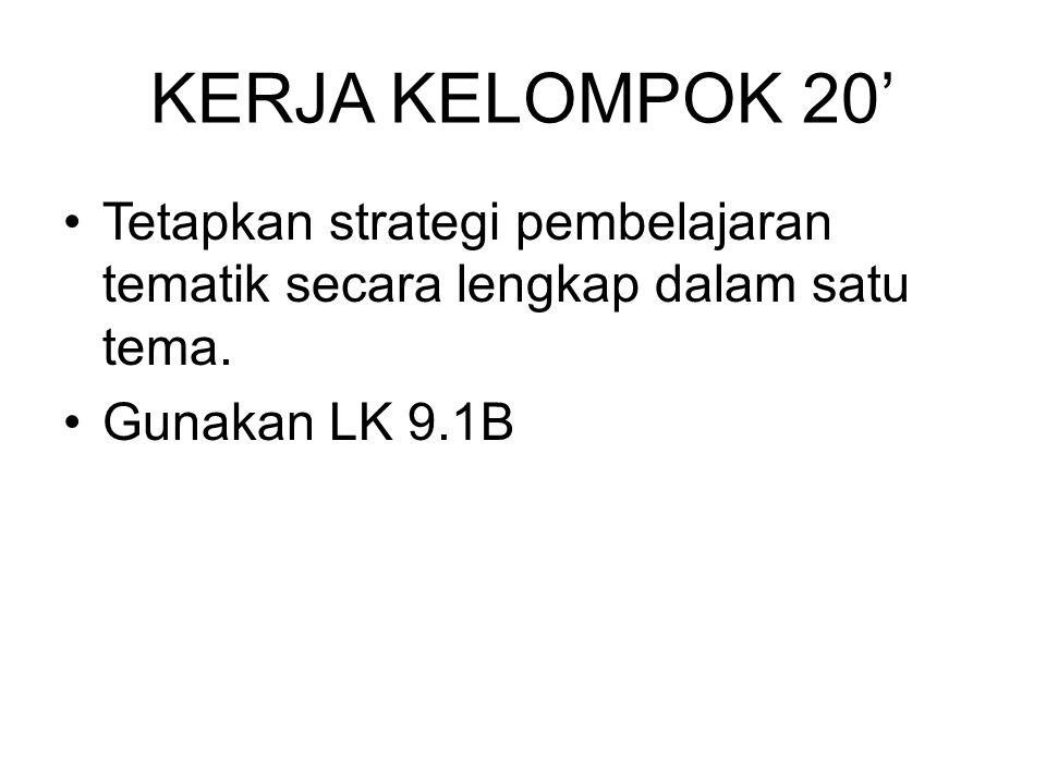 KERJA KELOMPOK 20' Tetapkan strategi pembelajaran tematik secara lengkap dalam satu tema. Gunakan LK 9.1B