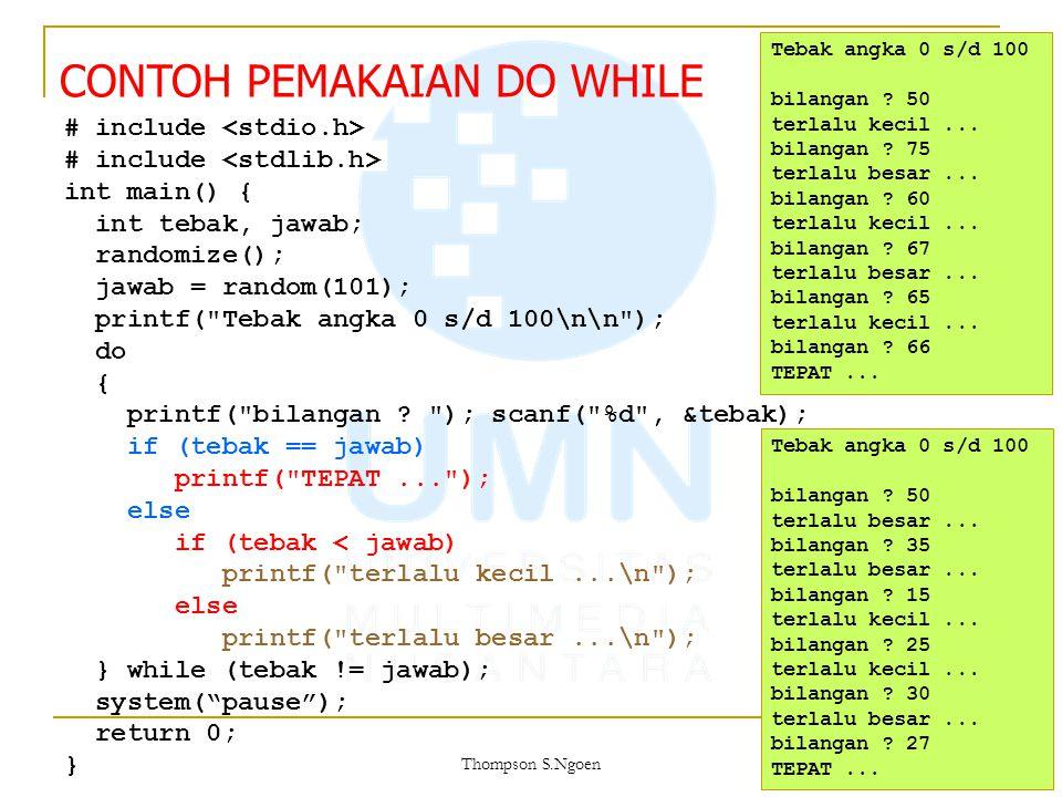 # include int main() { int tebak, jawab; randomize(); jawab = random(101); printf(