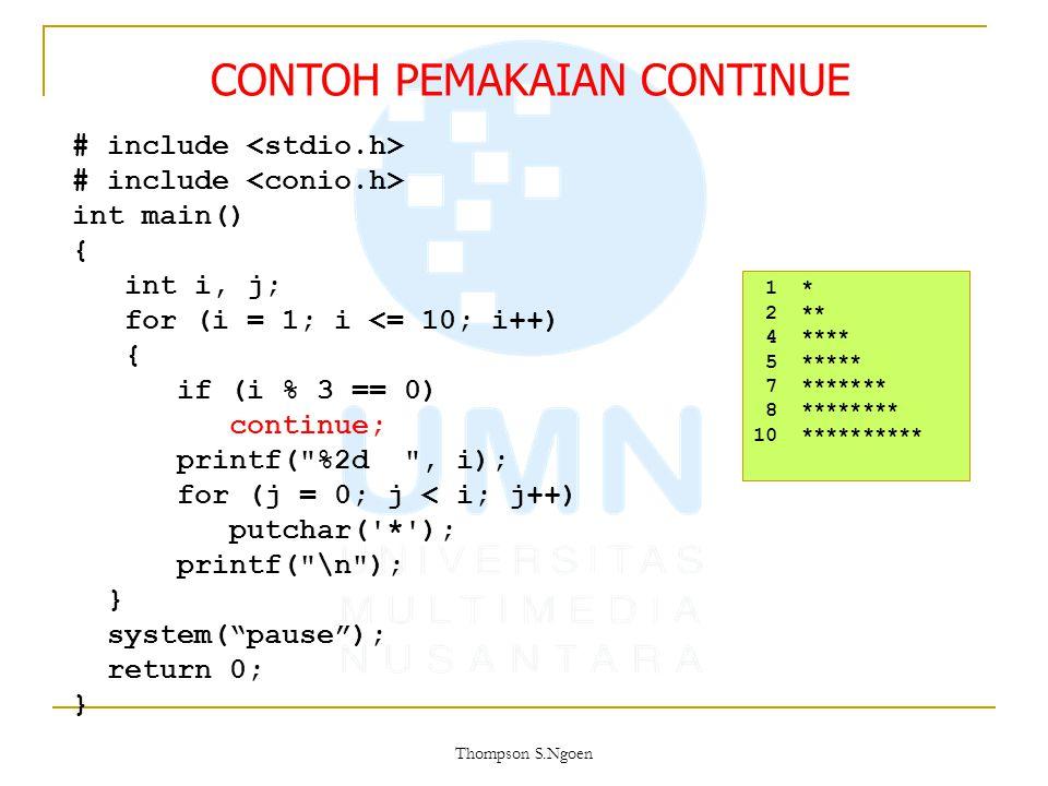 # include int main() { int i, j; for (i = 1; i <= 10; i++) { if (i % 3 == 0) continue; printf(