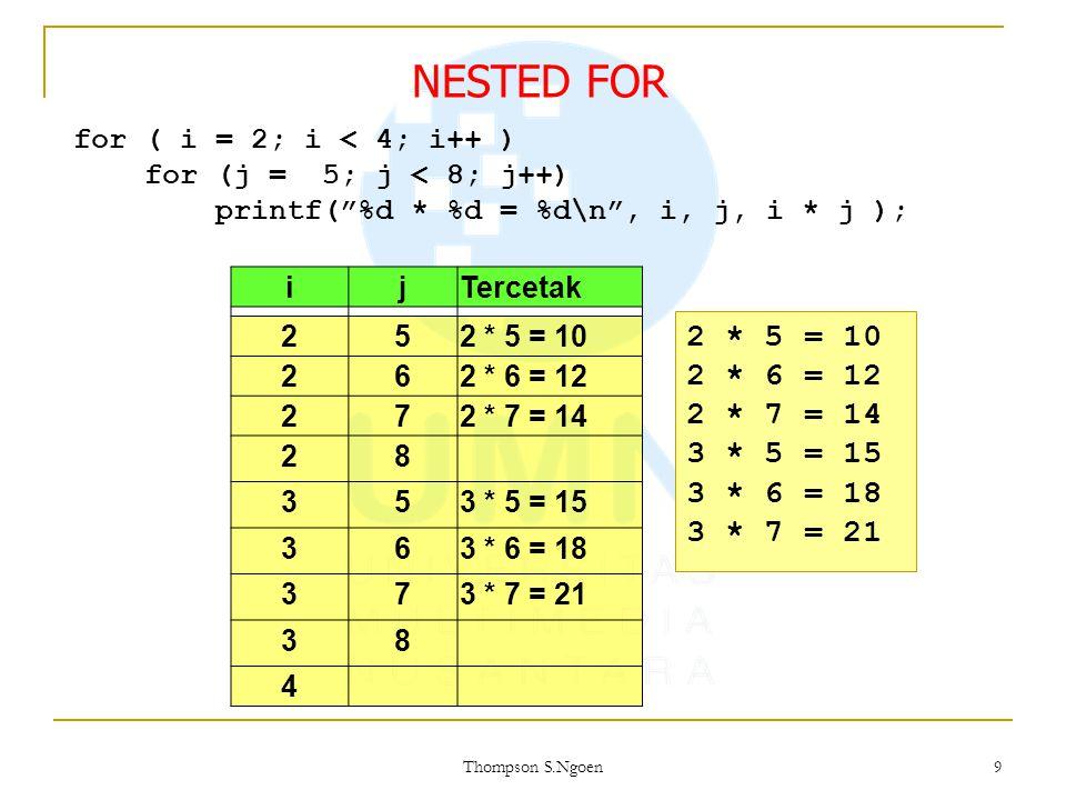 "9 for ( i = 2; i < 4; i++ ) for (j = 5; j < 8; j++) printf(""%d * %d = %d\n"", i, j, i * j ); ijTercetak 252 * 5 = 10 262 * 6 = 12 272 * 7 = 14 28 353 *"