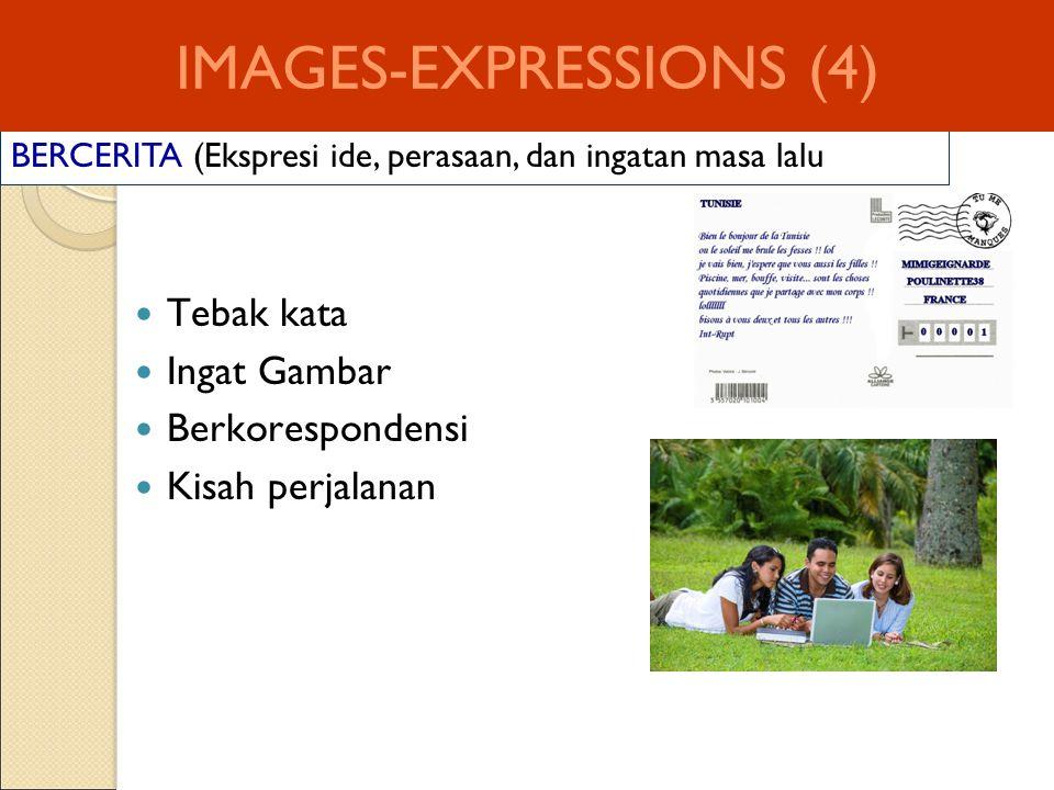 BERCERITA (Ekspresi ide, perasaan, dan ingatan masa lalu IMAGES-EXPRESSIONS (4) Tebak kata Ingat Gambar Berkorespondensi Kisah perjalanan