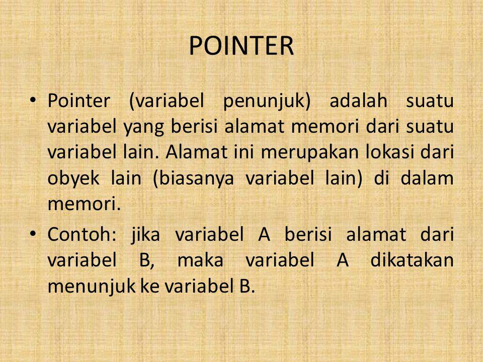 POINTER Pointer (variabel penunjuk) adalah suatu variabel yang berisi alamat memori dari suatu variabel lain. Alamat ini merupakan lokasi dari obyek l