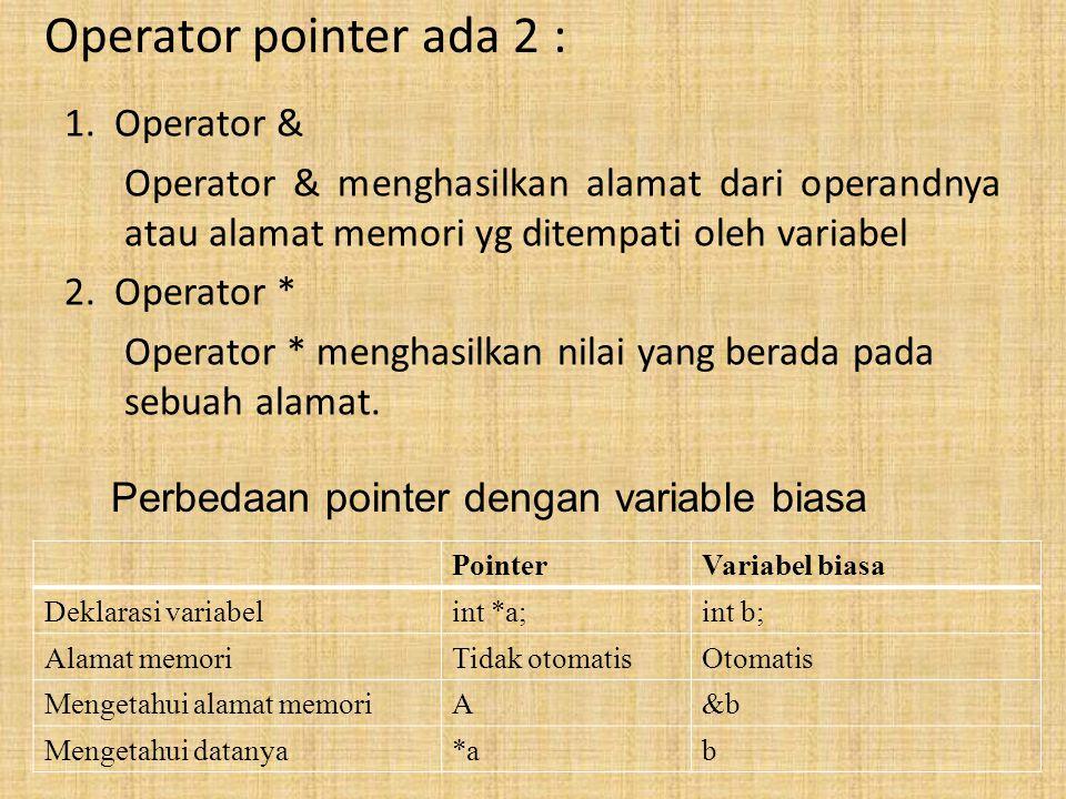 Operator pointer ada 2 : 1. Operator & Operator & menghasilkan alamat dari operandnya atau alamat memori yg ditempati oleh variabel 2. Operator * Oper