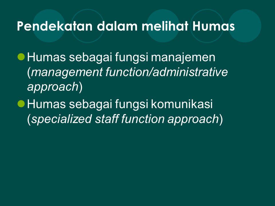 Pendekatan dalam melihat Humas Humas sebagai fungsi manajemen (management function/administrative approach) Humas sebagai fungsi komunikasi (specializ