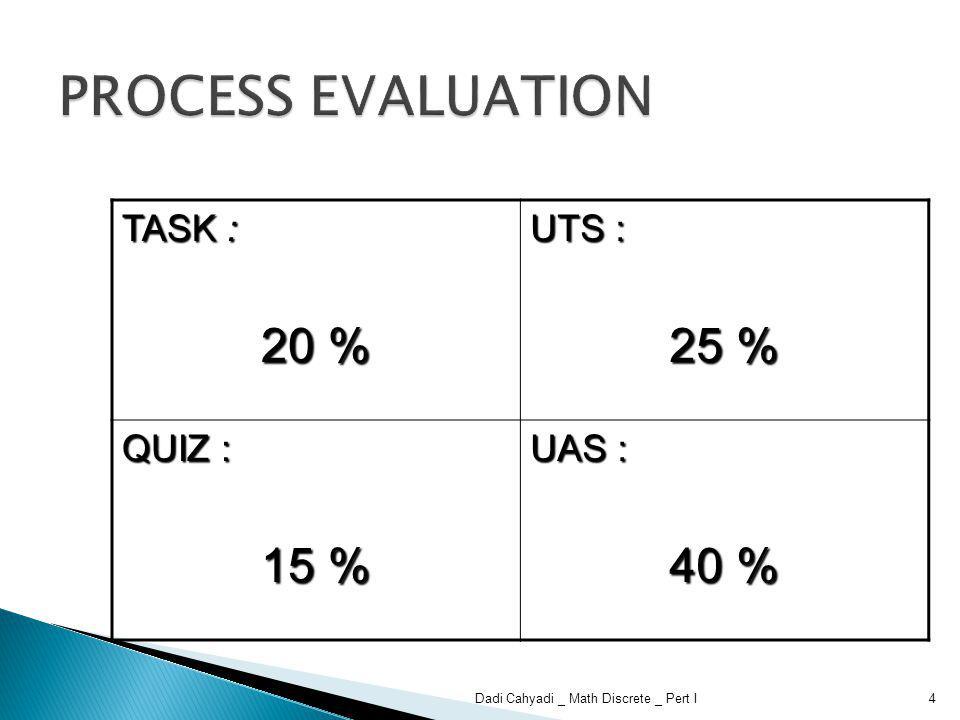 TASK : 20 % UTS : 25 % QUIZ : 15 % UAS : 40 % 4Dadi Cahyadi _ Math Discrete _ Pert I