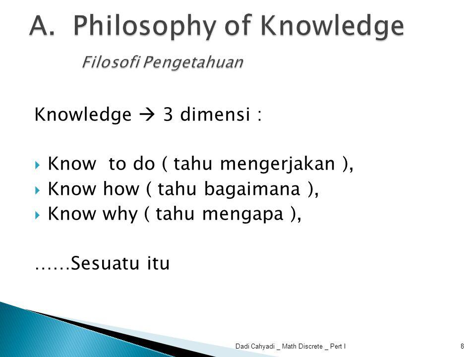 science ethics art Knowledge 9Dadi Cahyadi _ Math Discrete _ Pert I