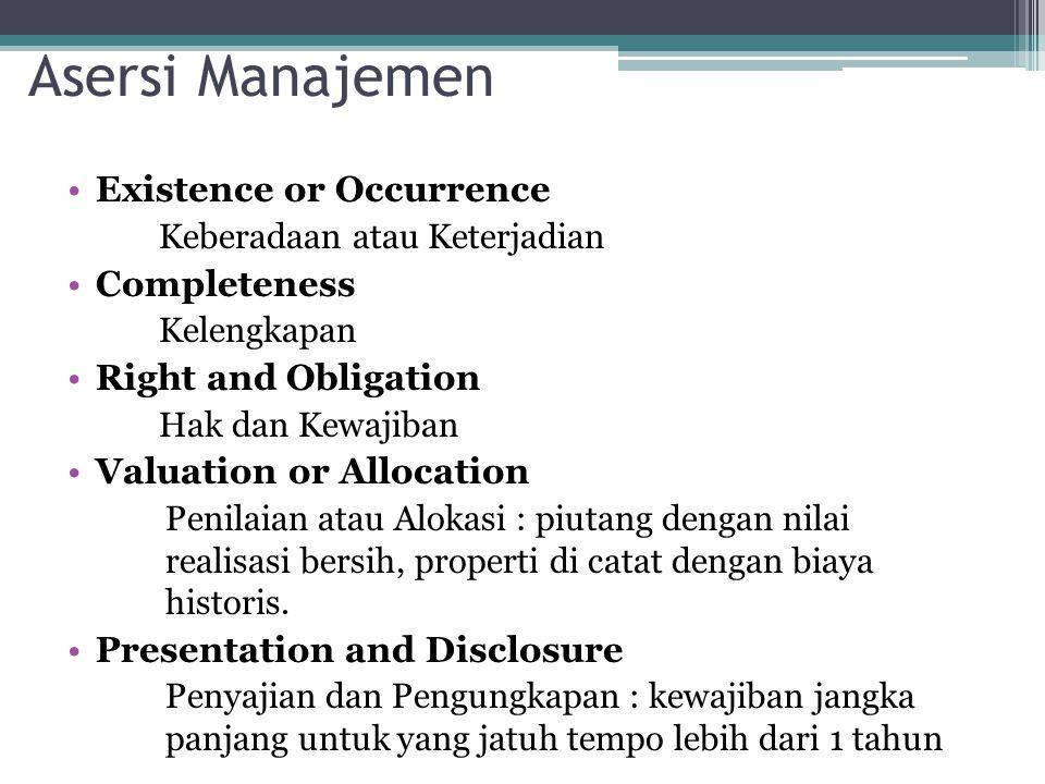 Asersi Manajemen Existence or Occurrence Keberadaan atau Keterjadian Completeness Kelengkapan Right and Obligation Hak dan Kewajiban Valuation or Allo