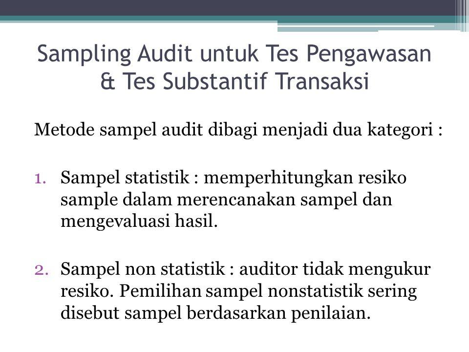 Sampling Audit untuk Tes Pengawasan & Tes Substantif Transaksi Metode sampel audit dibagi menjadi dua kategori : 1.Sampel statistik : memperhitungkan resiko sample dalam merencanakan sampel dan mengevaluasi hasil.