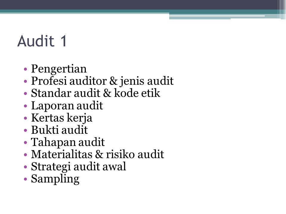Audit 1 Pengertian Profesi auditor & jenis audit Standar audit & kode etik Laporan audit Kertas kerja Bukti audit Tahapan audit Materialitas & risiko