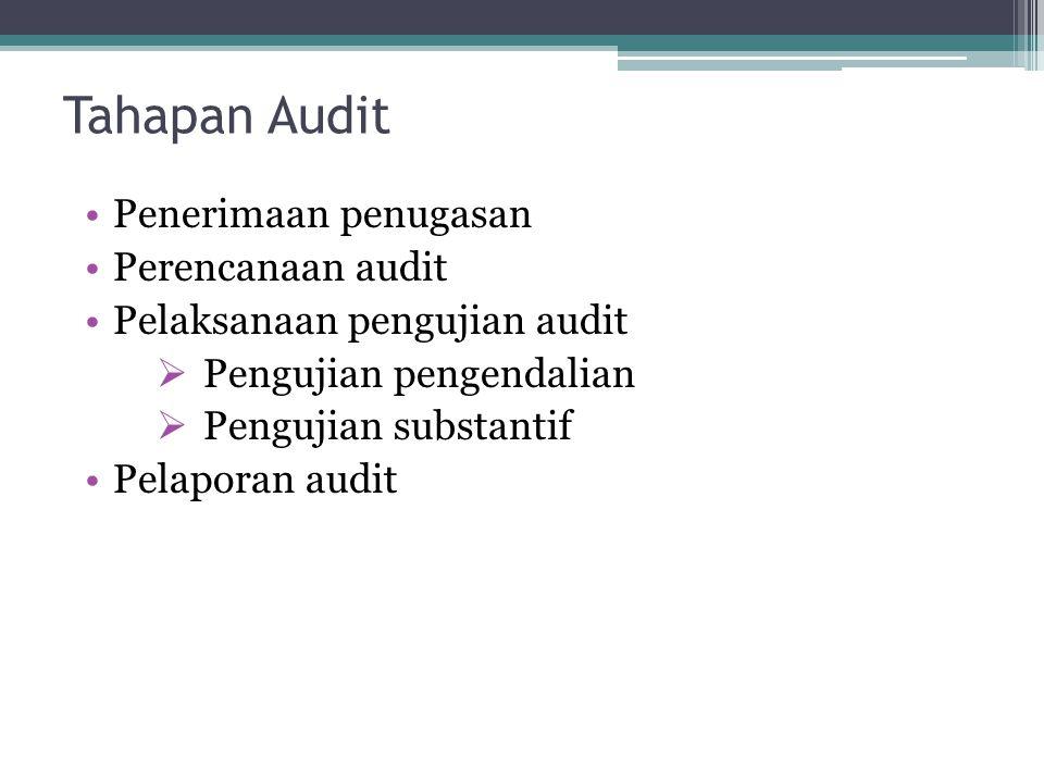 Tahapan Audit Penerimaan penugasan Perencanaan audit Pelaksanaan pengujian audit  Pengujian pengendalian  Pengujian substantif Pelaporan audit