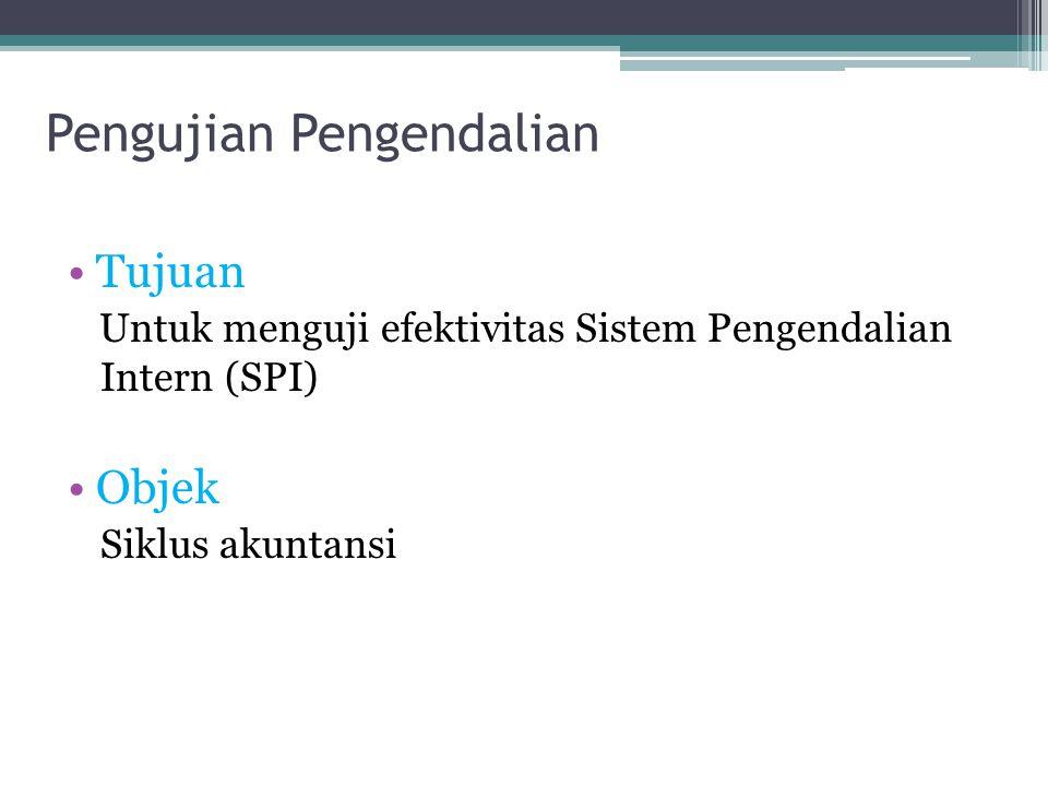 Pengujian Pengendalian Tujuan Untuk menguji efektivitas Sistem Pengendalian Intern (SPI) Objek Siklus akuntansi