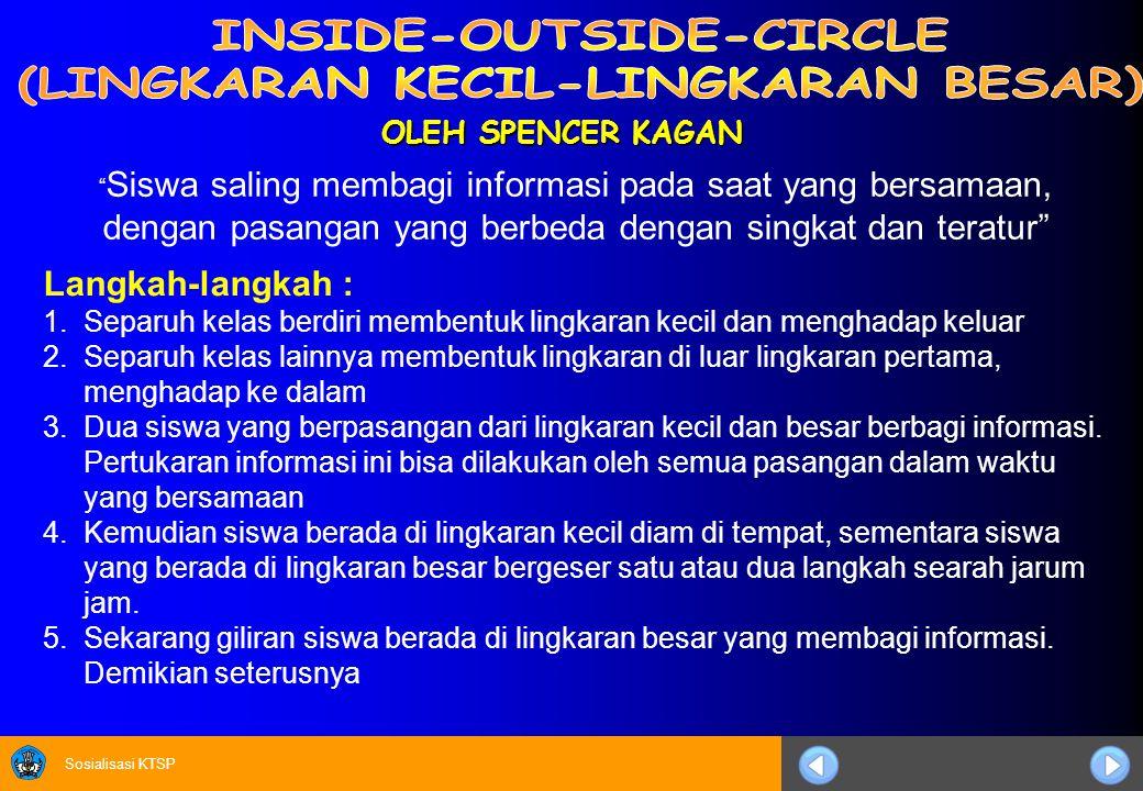 Sosialisasi KTSP OLEH SPENCER KAGAN Langkah-langkah : 1.Separuh kelas berdiri membentuk lingkaran kecil dan menghadap keluar 2.Separuh kelas lainnya m