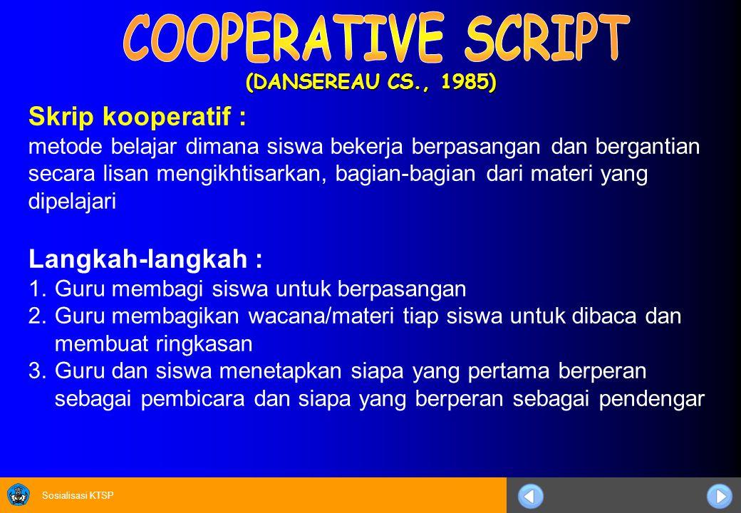 Sosialisasi KTSP Susunlah huruf-huruf pada kolom sehingga merupakan kata kunci (jawaban) dari pertanyaan kolom A.