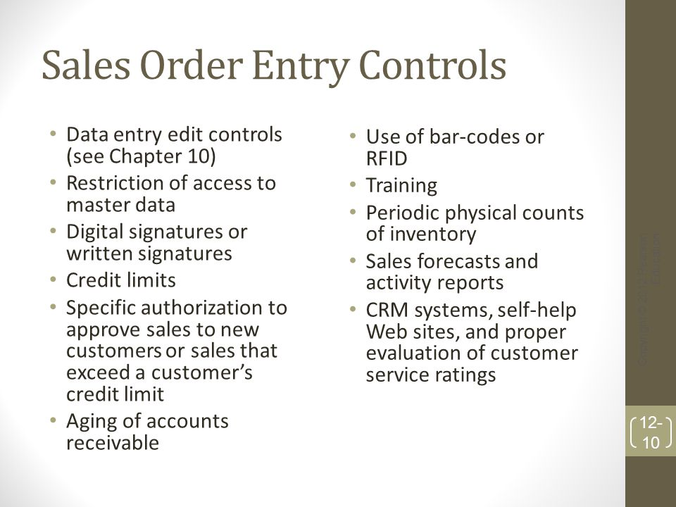 Sales Order Entry Controls Data entry edit controls (see Chapter 10) Restriction of access to master data Digital signatures or written signatures Cre