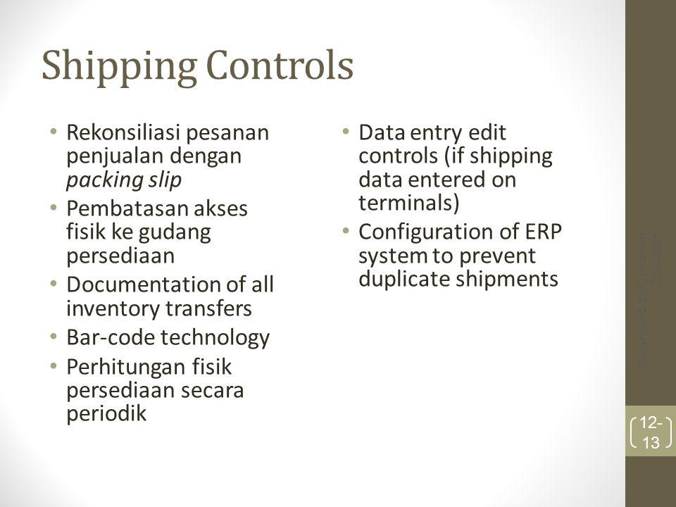 Shipping Controls Rekonsiliasi pesanan penjualan dengan packing slip Pembatasan akses fisik ke gudang persediaan Documentation of all inventory transf