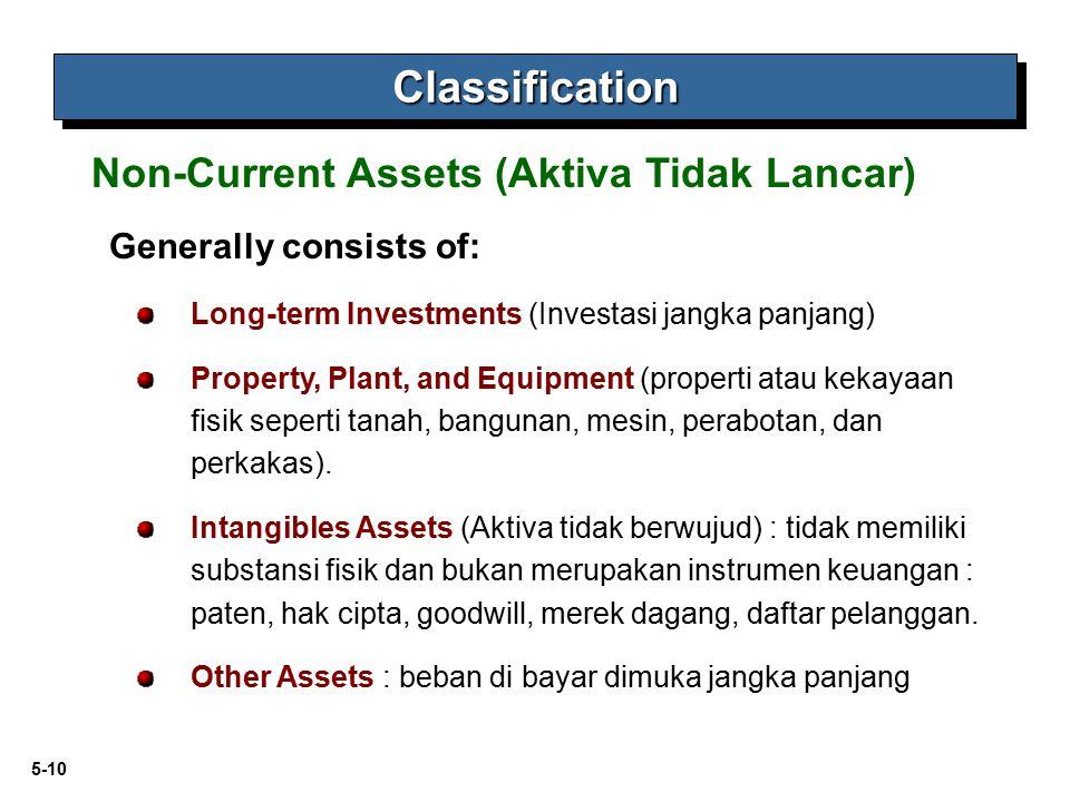 5-10 Generally consists of: Long-term Investments (Investasi jangka panjang) Property, Plant, and Equipment (properti atau kekayaan fisik seperti tana