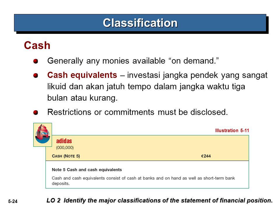"5-24 Generally any monies available ""on demand."" Cash equivalents – investasi jangka pendek yang sangat likuid dan akan jatuh tempo dalam jangka waktu"