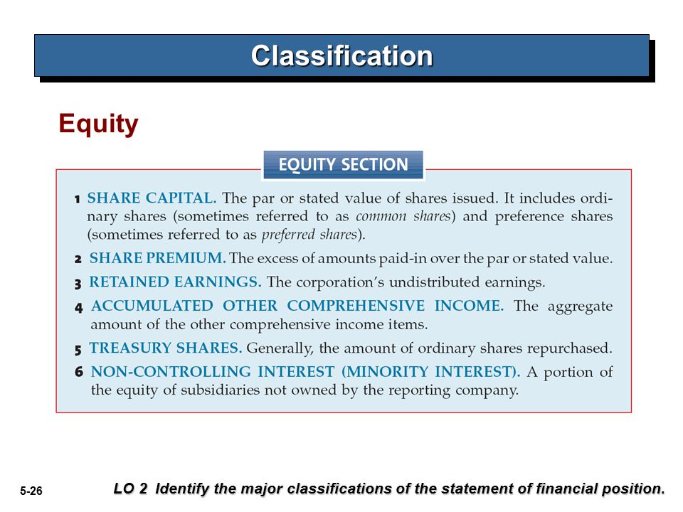 5-26 Equity LO 2 Identify the major classifications of the statement of financial position.