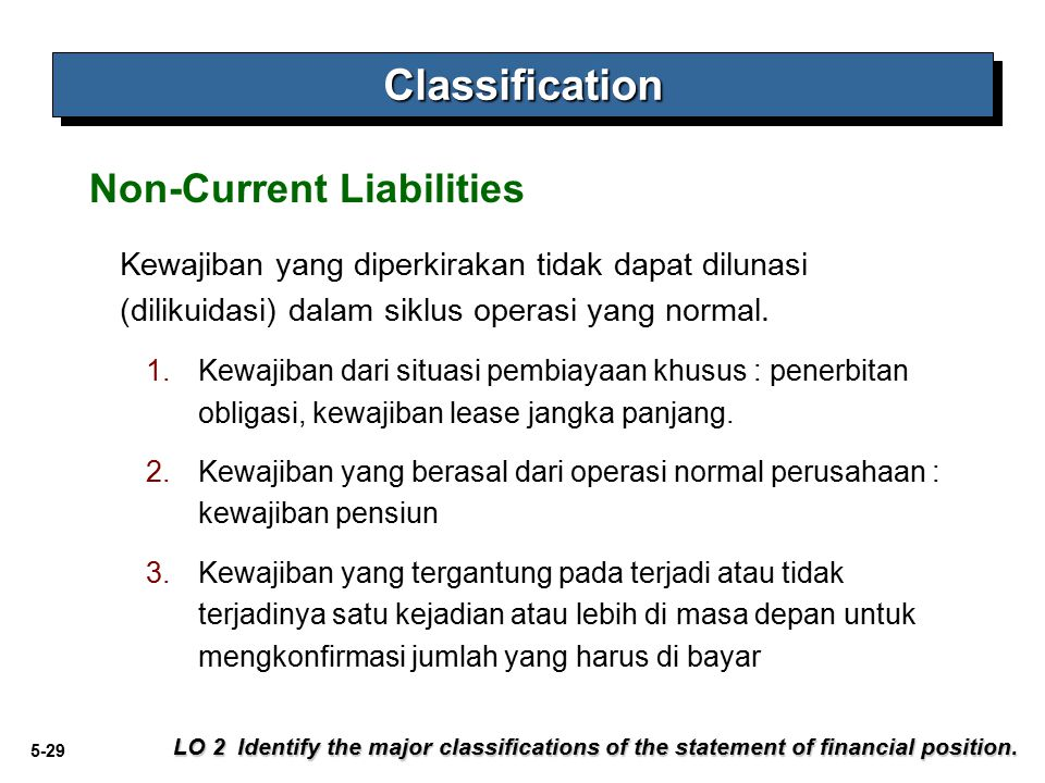 5-29 Non-Current Liabilities LO 2 Identify the major classifications of the statement of financial position. ClassificationClassification Kewajiban ya