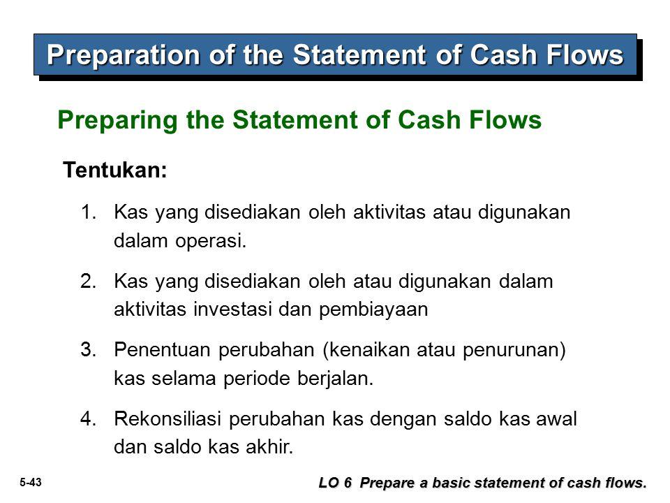 5-43 Preparation of the Statement of Cash Flows Preparing the Statement of Cash Flows Tentukan: 1.Kas yang disediakan oleh aktivitas atau digunakan da
