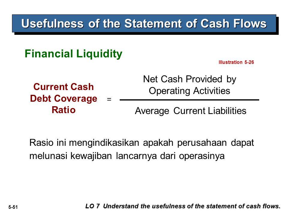 5-51 Usefulness of the Statement of Cash Flows Rasio ini mengindikasikan apakah perusahaan dapat melunasi kewajiban lancarnya dari operasinya LO 7 Understand the usefulness of the statement of cash flows.